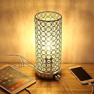 ENCOFT 2 USB Lampe deTable en Cristal Contrôle Tactile Accent Dimmable Lampe de Bureau Chevet avec Ampoule(Cristal 2 Ports...