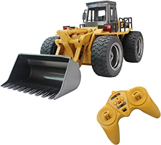 Fistone RC Truck Alloy Shovel Loader Tractor 2.4G Radio Control 4 Wheel Bulldozer 4WD Front Loader Construction Vehicle Electronic Toys Game Hobby Model with Light and Sounds