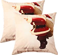 March Flower Cartoon Decorative Throw Pillow Case Flannelette Set of 2 Pillow Covers 20 x20 Inch for car Bed Sofa Deer Santa Claus Snails locomotives