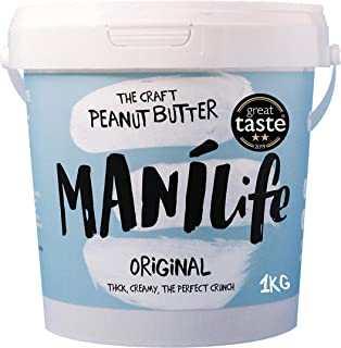 ManiLife Mantequilla de Cacahuete - Peanut Butter - Natural, de Origen único, sin Aditivos, sin Azúcar Añadida, sin Aceite de Palma - Crujiente Tostado Original - (1 x 1kg)