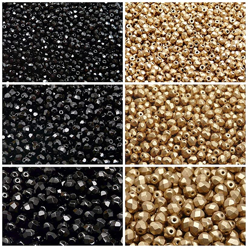 Czech Fire-Polished Glass Beads Round 3mm, 4mm, 6mm, Two Colors. Total 500 pcs. Set 2CFP 015 (3FP001 3FP007 4FP001 4FP085 6FP001 6FP077)