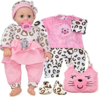 Baby Doll with Pacifier and Accessories Life Size Soft Body Baby Doll Set with Diaper Bag Clothes Eyes Open Close 18 Inch Lifelike Sleeping Doll for Toddlers Kids