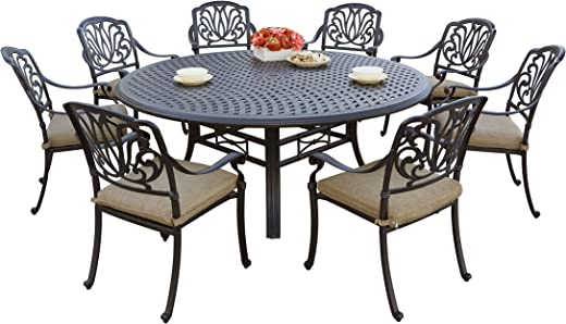 "B01LZPRSC1✅Darlee 9 Piece Elisabeth Cast Aluminum Dining Set with Sesame seat Cushions and 71"" Round Dining Table, Antique Bronze Finish"