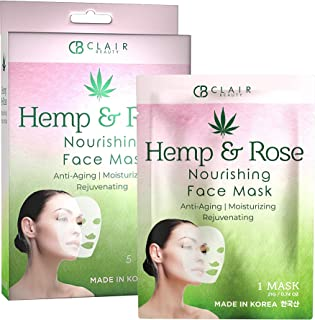 CLAIR BEAUTY Hemp & Rose Nourishing Sheet Face Mask - Deeply Moisturizing, Anti Aging & Rejuvenating | Reduces Fine Lines ...