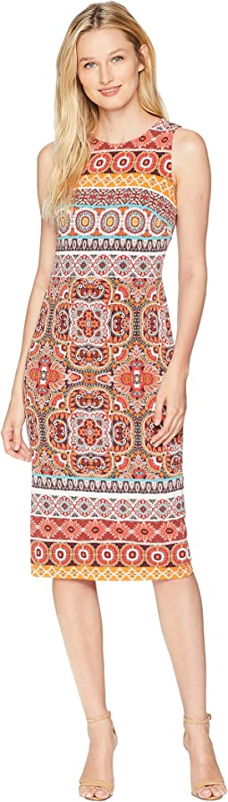 Kaleidscope Flower Printed Jersey Sheath