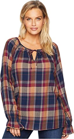Cotton Plaid Long Sleeve Blouse