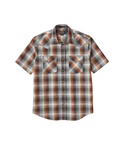 Pendleton Frontier Shirt Short Sleeve (Grey/Rust Plaid) Men