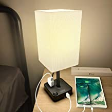 COZOO USB Bedside Table & Desk Lamp with 3 USB Charging Ports and 2 Outlets Power..