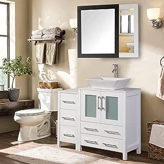 Vanity Art 36 inch Single Sink Bathroom Vanity Combo Set 5-Drawers, 1-Shelf, 2 Cabinet White Quartz Top and Ceramic Vessel Sink Bathroom Cabinet with Free Mirror - VA3124-36-W