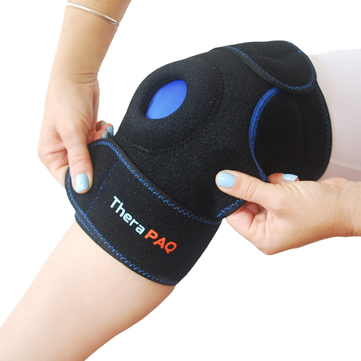 Knee Ice Pack Wrap by TheraPAQ: Hot & Cold Therapy Knee Support Brace - Reusable Compression Sleeve for Bursitis Pain Relief, Meniscus Tear, Rheumatoid Arthritis, Injury Recovery, Sprains & Swelling xngfp4610
