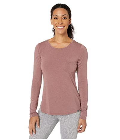 Prana Foundation Long Sleeve Crew Neck Top (Dark Mauve Heather) Women