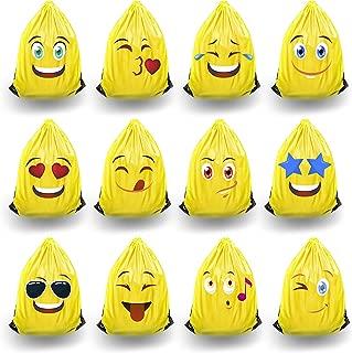 Kids RMore Emoji Backpack Party Favor Bags for Kids Birthday - Set of 12 Drawstring Backpack Goodie Bags, Treat Bags, Return Gifts, Teacher Supplies, or Emoji Party Supplies. Yellow Draw String Bag
