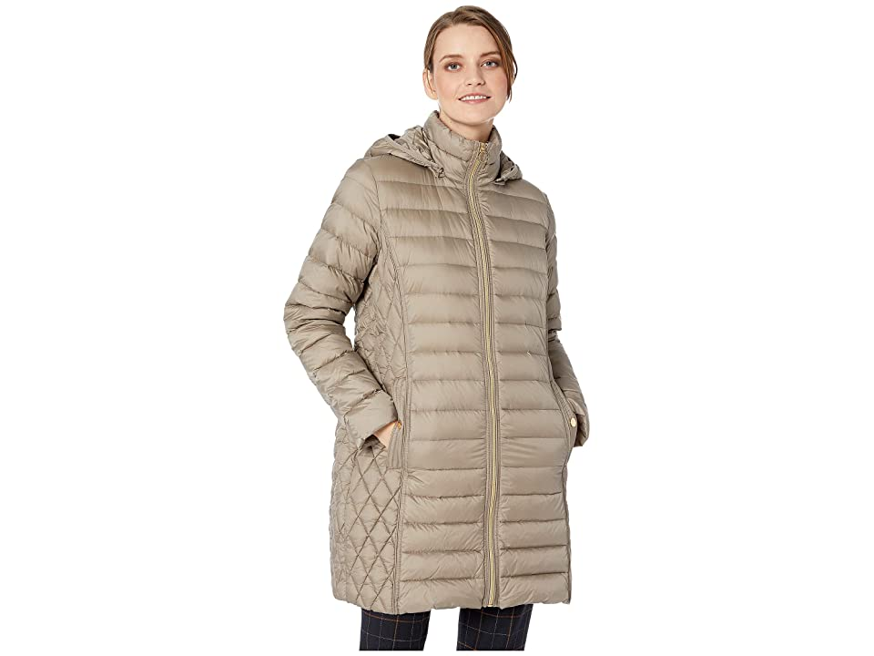 MICHAEL Michael Kors Zip Front 3/4 Packable with Hood M823687G32 (Taupe) Women