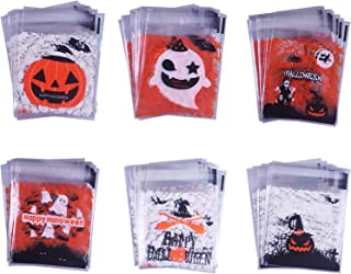 SMYLLS 120 Pcs Self Adhesive Candy Bag 6 Different Style - Cute Cookie Bags for Your Homemade Crafts (Halloween)
