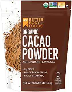 BetterBody Foods Organic Cacao Powder, Non-GMO, Gluten-Free Superfood, 16 oz.