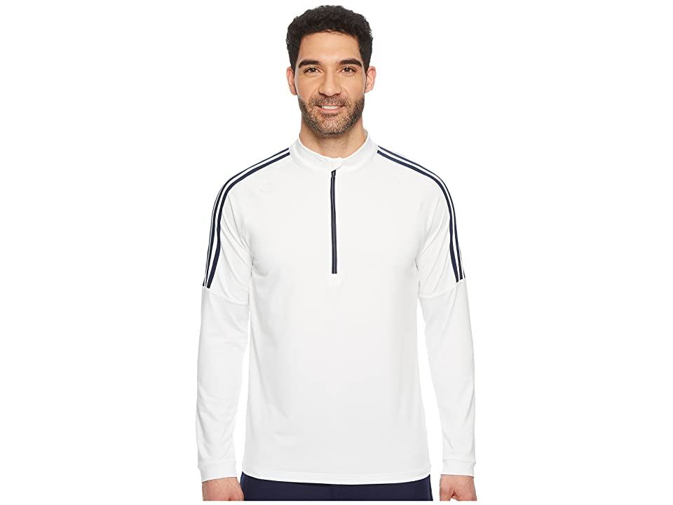 adidas Golf Classic 3-Stripes 1/4 Zip Pullover (White 1) Men