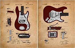 Fender Guitar Patent Prints 1956 & 1961 (11 x 14 Prints) for Musicians - Great for Any Man Cave