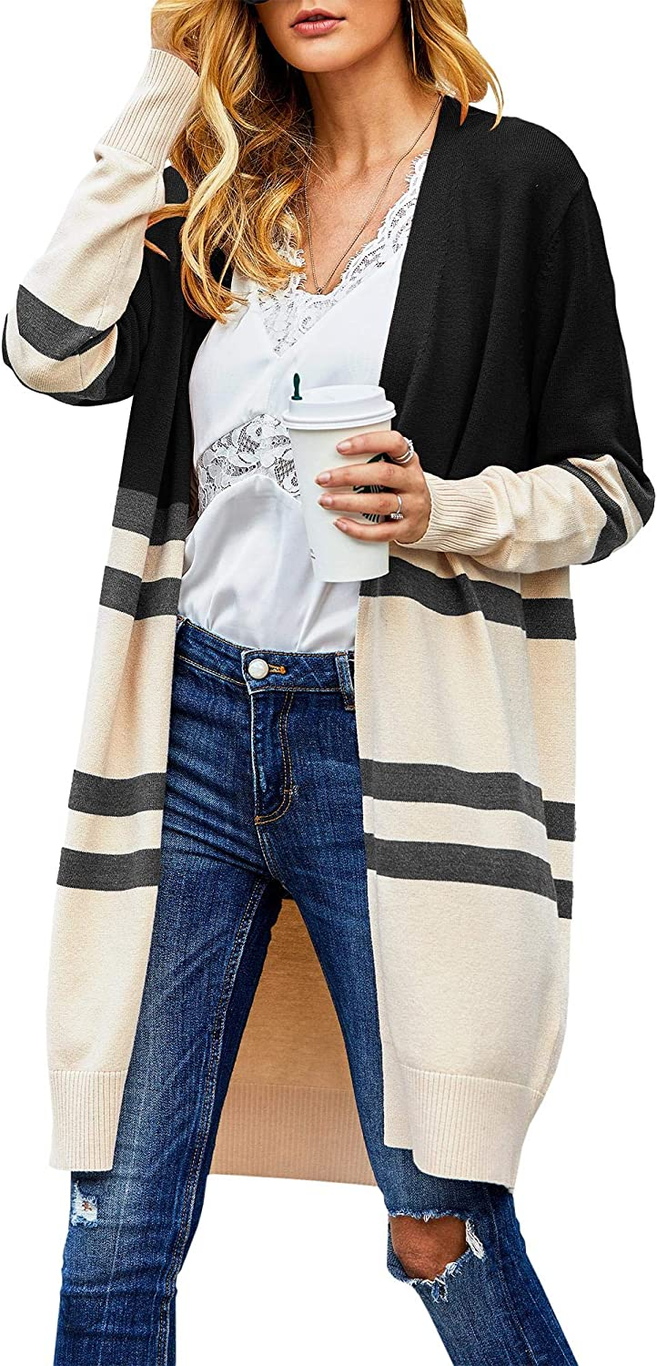 Misassy Womens Color Block Long Cardigans Striped Open Front Knit Sweater Loose Duster Outwear