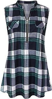 Luranee Womens Sleeveless Plaid Shirts V Neck Casual Nice Zip Up Tunic Tank Tops