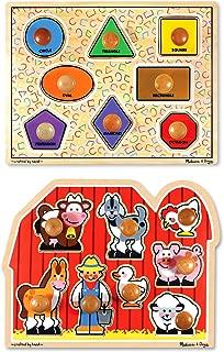 Melissa & Doug Jumbo Knob Wooden Puzzles - Shapes and Farm Animals