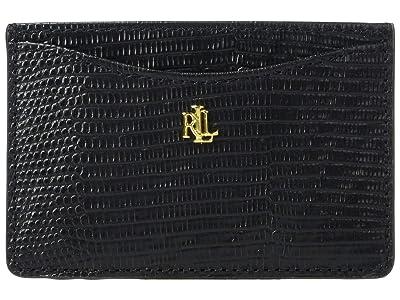 LAUREN Ralph Lauren Lizard Embossed Slim Card Case Medium (Black) Handbags