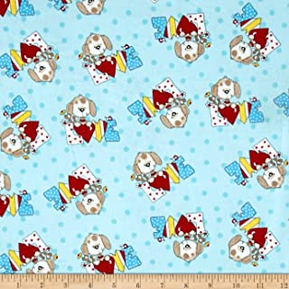 A.E. Nathan Comfy Flannel Love Dog Blue Fabric By The Yard