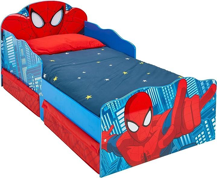 lettino spiderman con occhi luminosi e contenitore sottoletto legno red 142 x 77 x 64 cm hellohome 509sdr