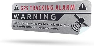 SECYOURITY   GPS Alarm Aufkleber Auto   Warnaufkleber für PKW & LKW (Silber, 2)
