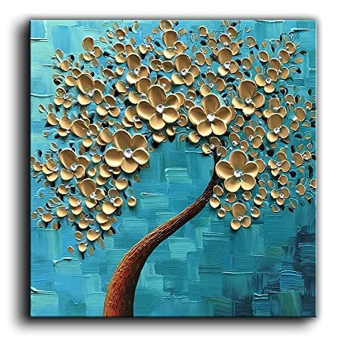 Baccow 100 Hand Painted 3D Texture Floral Contemporary Art Oil Painting On Canvas