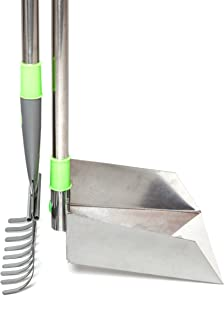 Woof & Paw Pooper Scooper Sturdy Metal Bin And Rake Set With LONG Telescoping Stainless Handles Adjustable to 40