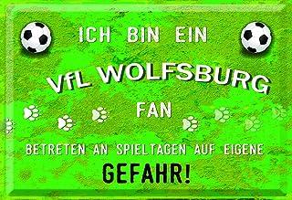 Mediarte Deko Blechschild Ich Bin EIN VFL Wolfsburg Fan Geschenk Männer Fussball Fanartikel Fußball Schild