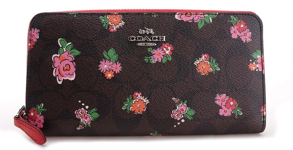 添付影快いコーチフローラル印刷Signature Zip Aroundアコーディオン財布、f56496
