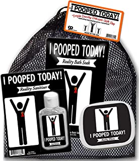 I Pooped Today Triple Doody Deluxe Gift Set – Funny Poop Weird Stuff Gift Sets for Men Pooped Today Mints Poop Bags Crazy Gifts for Adults Retirement Over The Hill Pooped Today Sanitizer Bath So