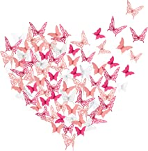 120 Pieces 3D Paper Butterfly Wall Stickers 3 Colors Removable Butterflies Decor Butterfly Wall Decals for Living Room Hom...
