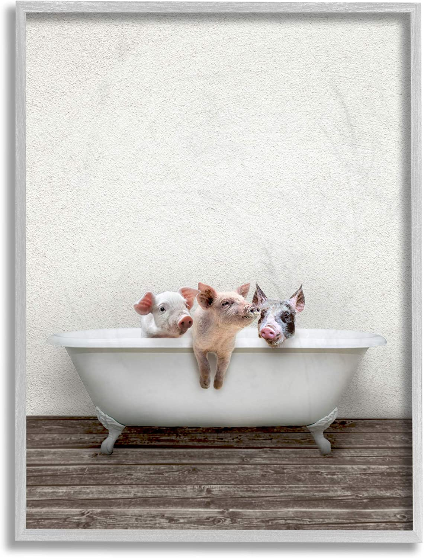 Stupell Super intense SALE Industries 55% OFF Three Little Piglets Rustic Bath Des Claw in
