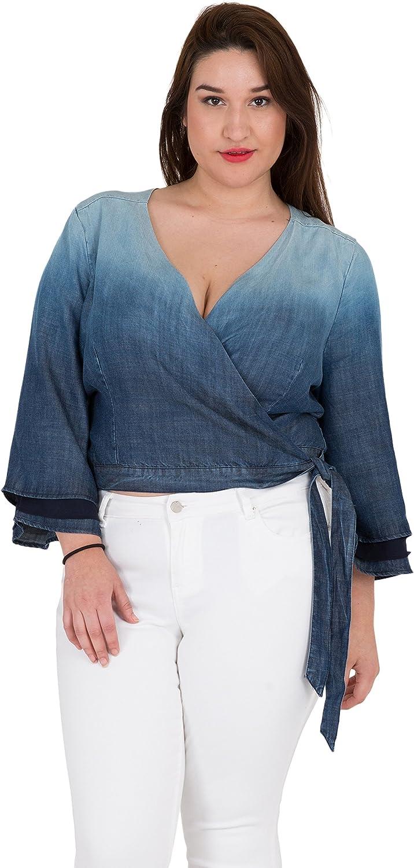 Standards & Practices Plus Size Women's Tiered Bell Sleeve Denim Wrap Crop Top