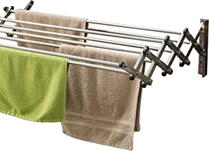 AERO W Racks Stainless Steel Wall Mounted Collapsible Laundry Clothes Drying Rack 60 Pound Capacity 22.5 Linear Ft