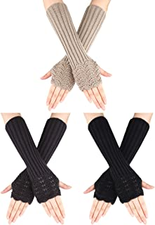3 Pairs Winter Long Fingerless Gloves Knitted Arm Warmer Thumb Hole Gloves