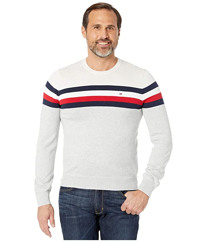 Tommy Hilfiger  Broome Color-Blocked Crew (Heather Silver/Bright White Heather) Mens Clothing