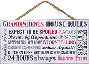 P. Graham Dunn Grandparents House Rules Wooden Sign with Jute Rope Hanger