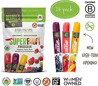Deebee's 100% Organics Super Fruit Freezie Frozen Juice Bars, Grape, Strawberry And Tropical Fruit Popsicles, (Pack of 24)
