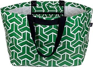 Stylish Beach Bag Swim Pool Bag Lightweight Extra-Large Carry-all Tote Bag Heritage Green Geometric