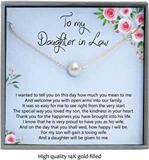 Gift to Bride from mother in Law, daughter in law gifts for wedding day, 14K Gold Filled Pearl Necklace