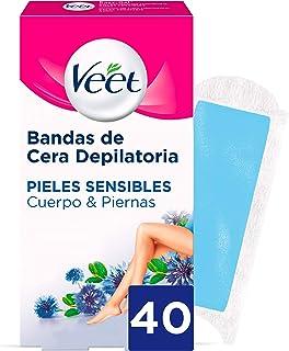 comprar comparacion Veet Bandas de Cera Fria Depilatoria para Depilación de Cuerpo y Piernas con Aceite de Almendras, Easy Gelwax, Pieles Sens...