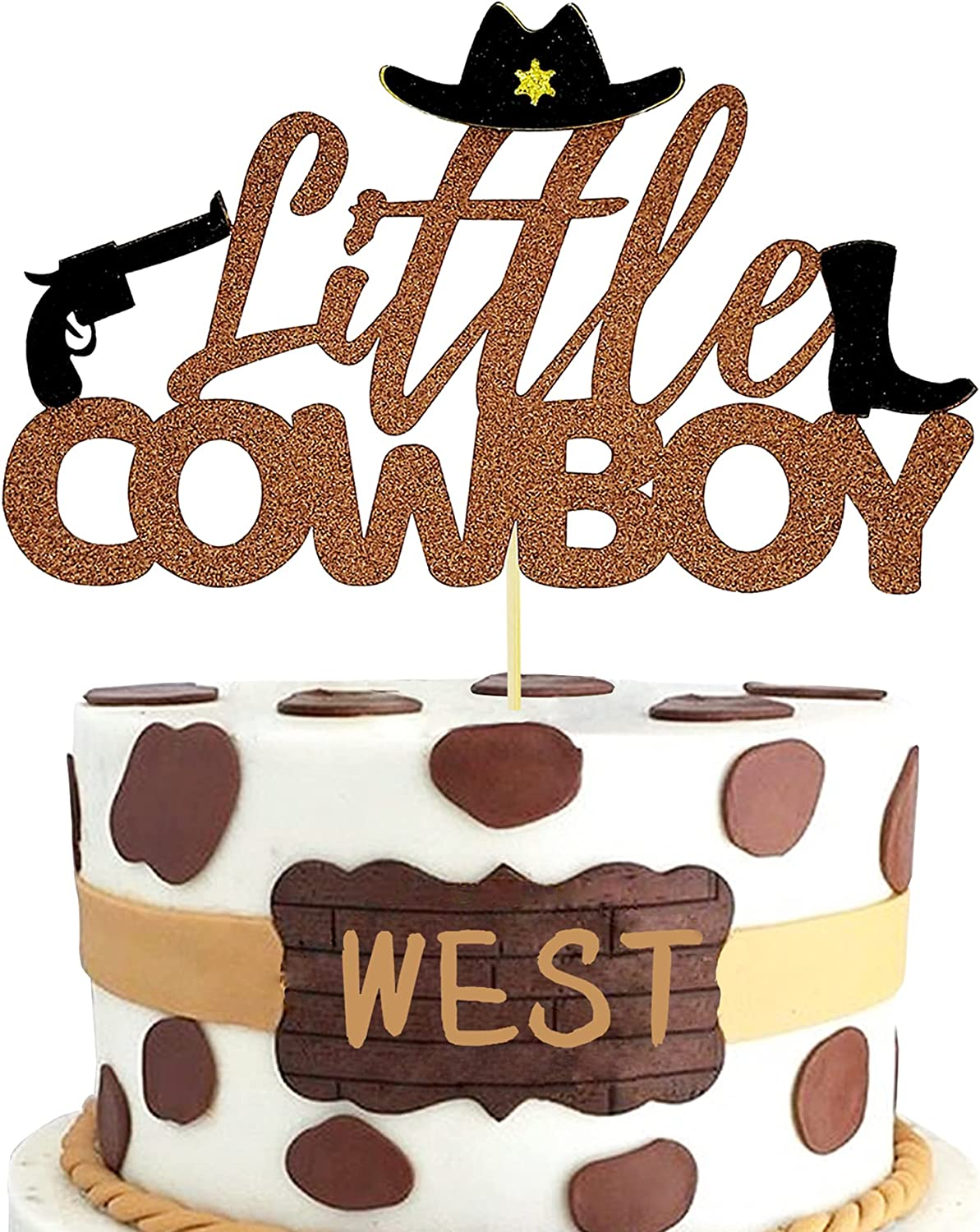 Glitter Little Cowboy Cake Topper Wild West Decor forWestern Theme Party Boy Birthday Party Baby Shower