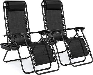بهترین محصولات مجموعه مجموعه ای از 2 صندلی صندلی راحتی قابل تنظیم با صفر Gravity صندلی برای پاسیو ، استخر و استکان جام - مشکی