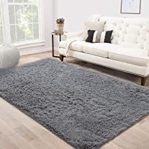 Area Rug Shag Fluffy Rugs Shaggy Carpet Bedside Floor Mat Super Soft Non-slip for Living Room Dining Room Bedroom Grey Rec...