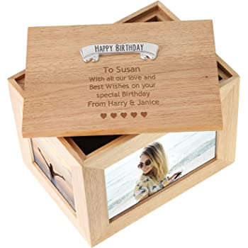 GiftRush Personalised Any Message Large Wooden Keepsake Box