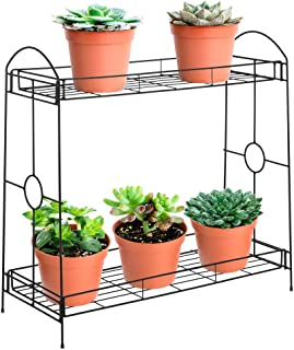 Best Choice Products 32-inch 2-Tier Indoor Outdoor Metal Multipurpose Plant Stand, Decorative Flower Pot Display Shelf Tray for Home, Backyard, Patio, Garden, Black