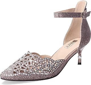 IDIFU Women's IN2 Candice Rhinestones Sequins Mid Heels Stiletto Kitten Heels Wedding Pump Bridal Shoes
